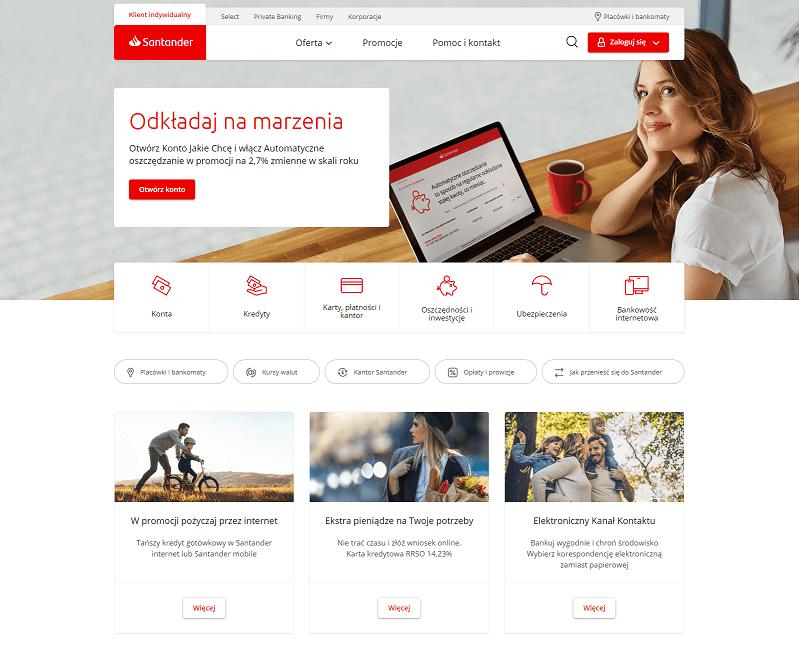 nowa strona Santander banku