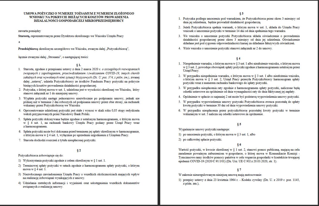 umowa pozyczki 5000 zl z urzedu pracy