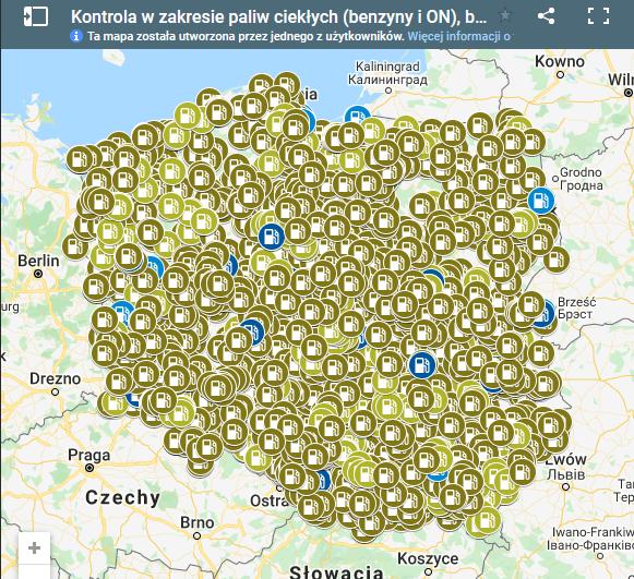 kontrola paliwa mapa